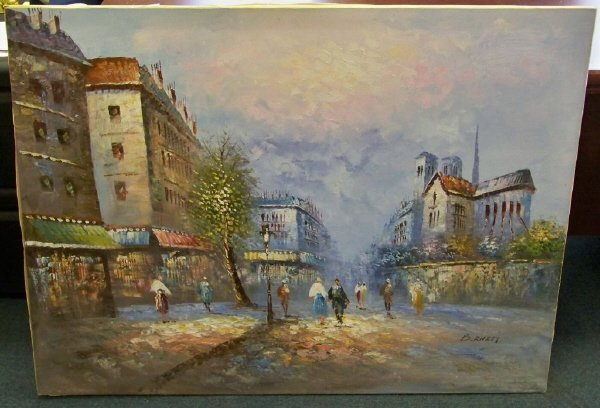 Caroline C Burnett Oil Painting French Parisian Stre (04/29/2011)
