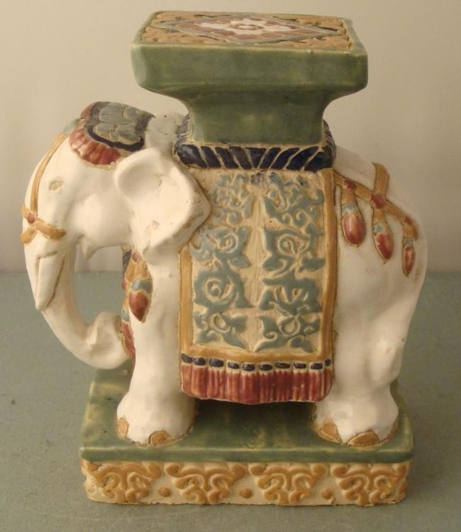 Ceramic Painted India White Elephant Figurine Tall Lot