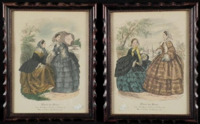 2 antique fashion art prints miroir des modes framed lot