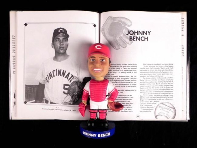 6 Pc Johnny Bench Lot Bobblehead Vhs Book Glass Book Lot 640008