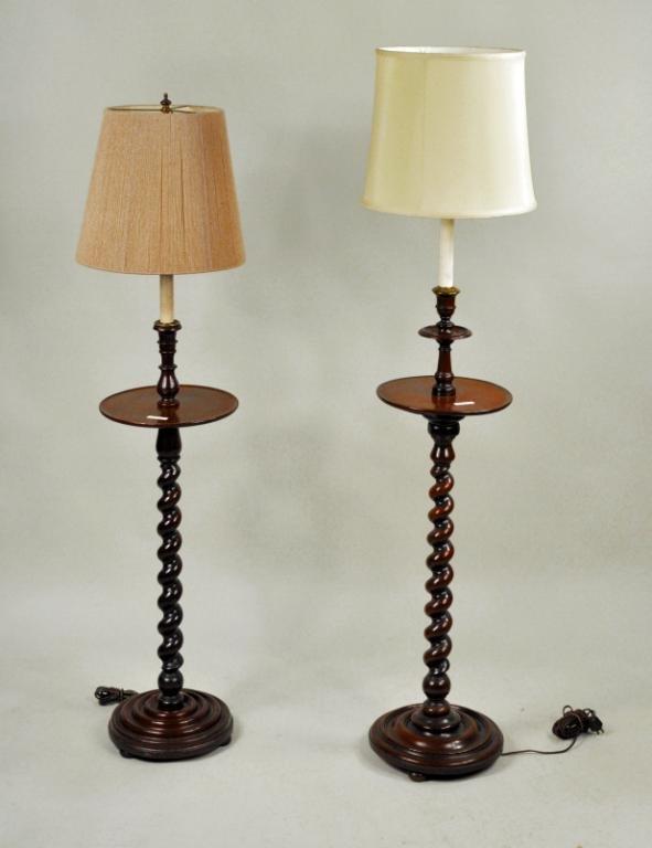 336 two barley twist carved oak floor lamps. Black Bedroom Furniture Sets. Home Design Ideas