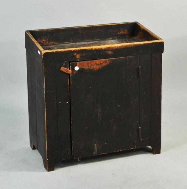 Dry Sink : Small Primitive Black Painted Dry Sink : Lot 445