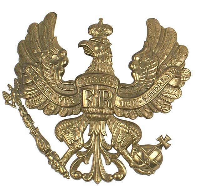 492: Imperial German helmet plate Prussian Eagle : Lot 492