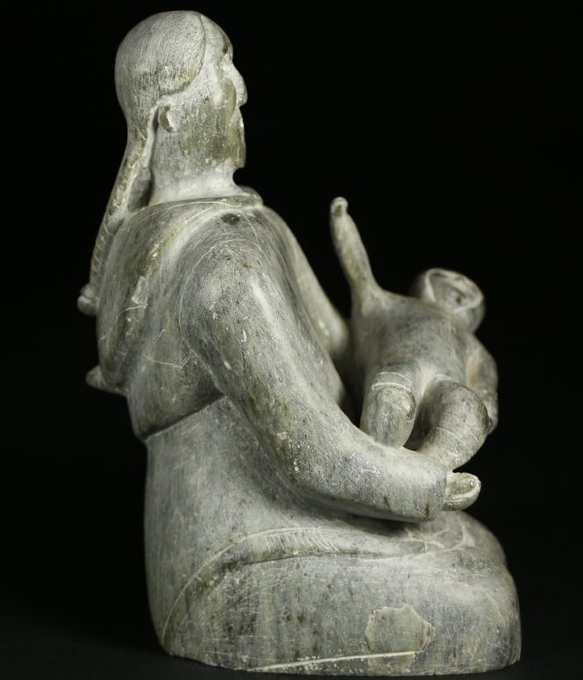 Inuit stone carving of mother and child lot