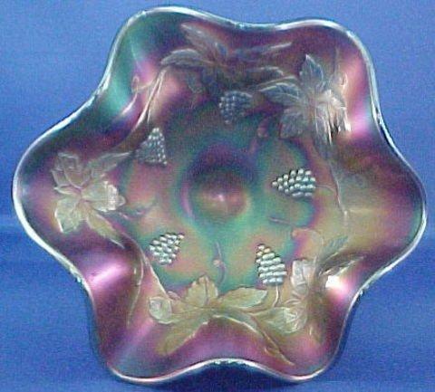CARNIVAL GLASS WINE SET - IMPERIAL GLASS GRAPE PATTERN-AMETHYST