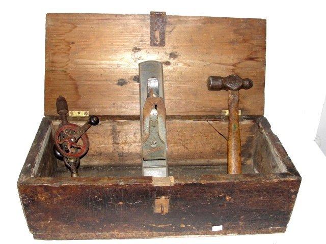 antique wood tool box