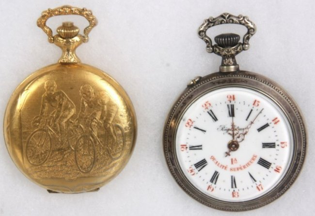 2 bicycle themed pocket watches lot 156