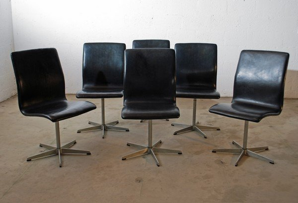 24 set of 6 arne jacobsen oxford dining chairs lot 24. Black Bedroom Furniture Sets. Home Design Ideas