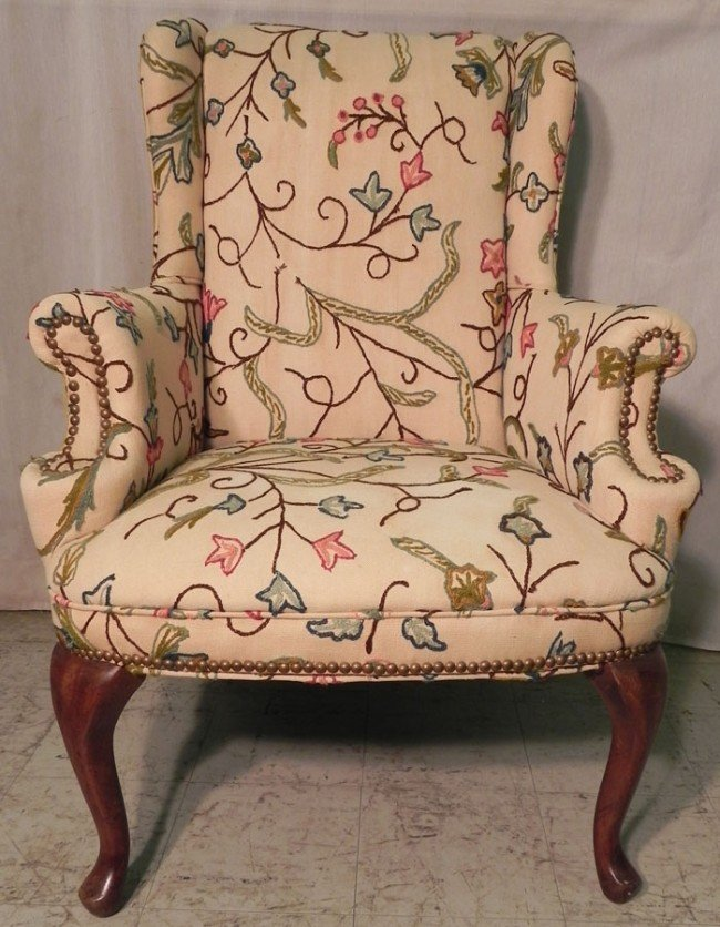 299 Crewel work Queen Anne wingback chair Lot 299