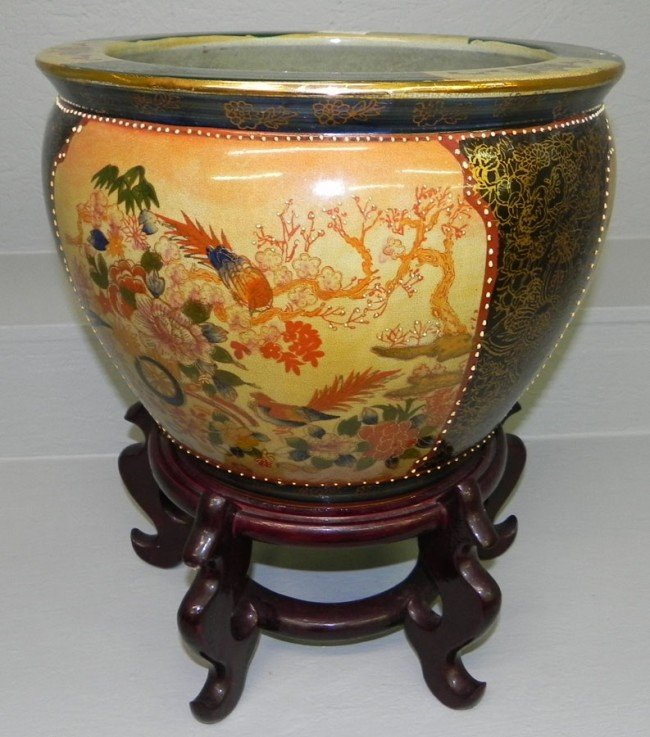 31 chinese fish bowl with stand lot 31 for Fish bowl stand