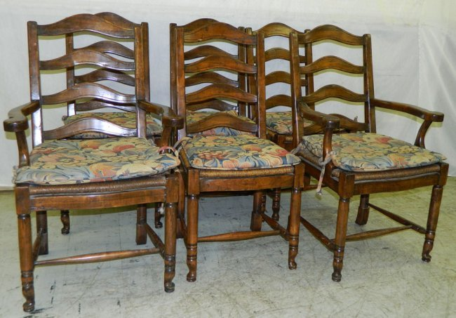 554 6 Ladder Back French Country Style Dining Chairs
