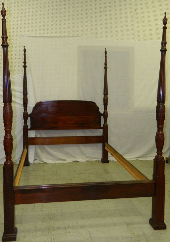Wheat And Reeded Mah Four Poster Queen Bed Lot 72