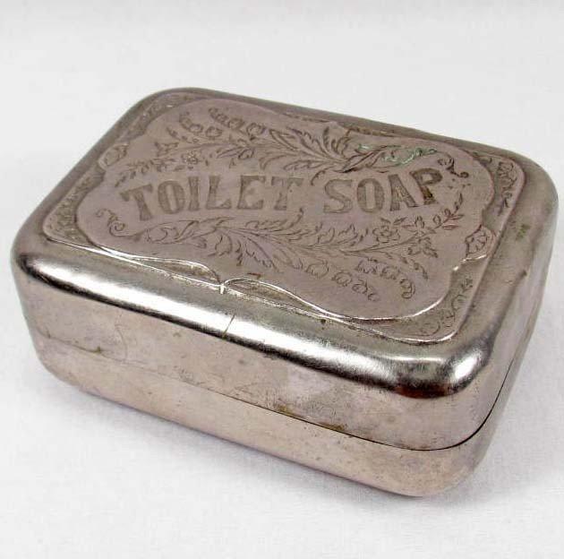 17: C. 1800'S VICTORIAN METAL TOILET SOAP TRAVEL CASE : Lot 17