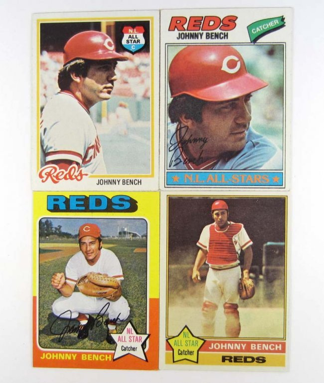 84 Lot Of 4 Topps Johnny Bench Baseball Cards Lot 84
