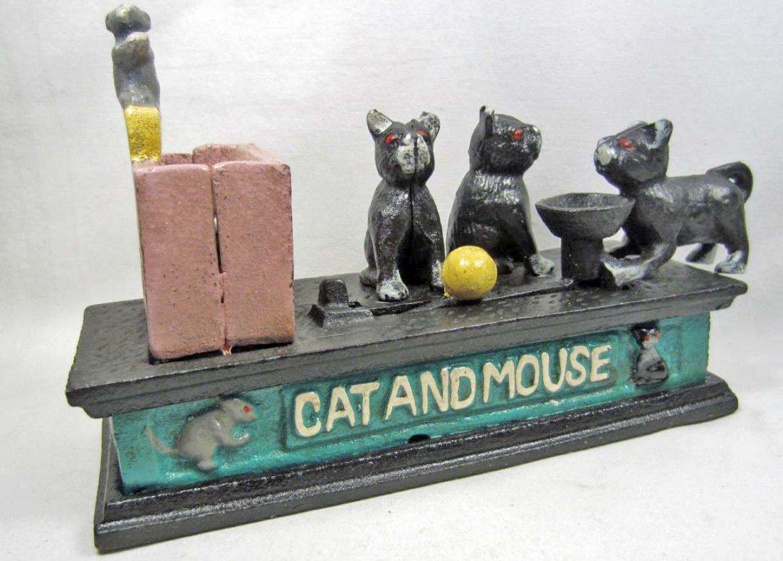 vintage cast iron cat and mouse mechanical bank. Black Bedroom Furniture Sets. Home Design Ideas