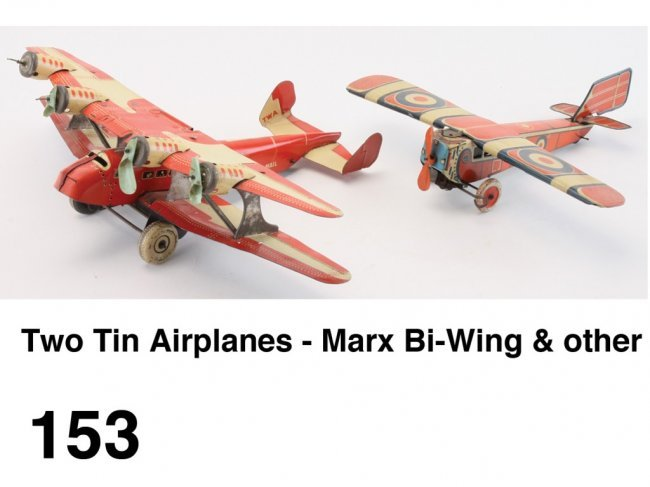 Two Tin Airplanes Marx Bi Wing Amp Other Lot 153