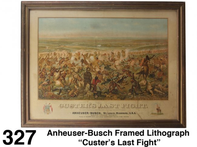 Anheuser Busch Framed Lithograph Custer S Last Fight
