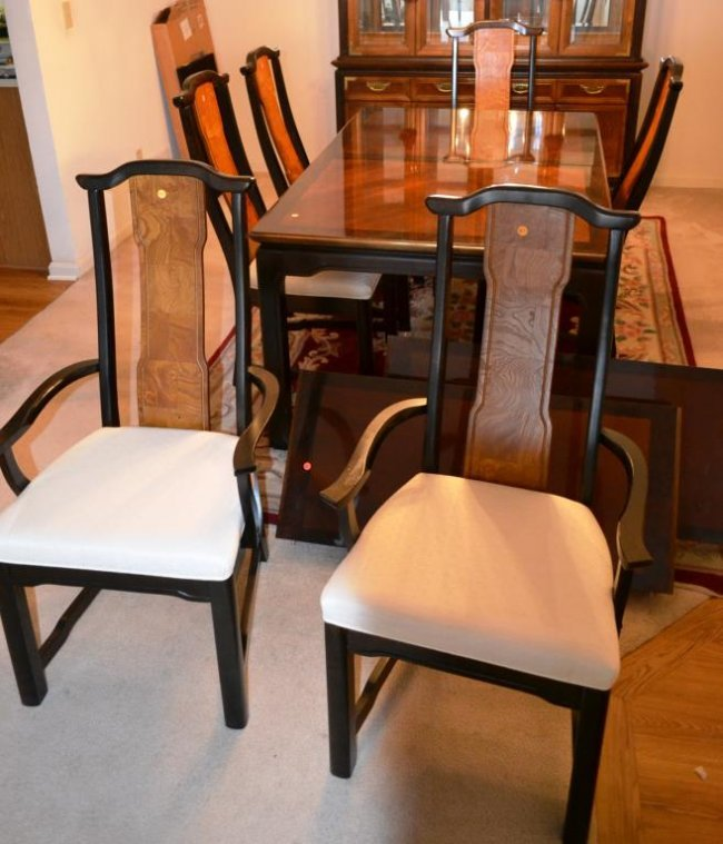 Chinese style dining room table and 6 chairs lot 479 for Asian style dining table and chairs