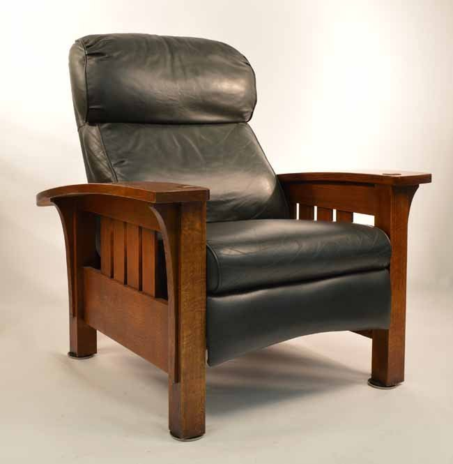 Stickley Oak Bow Arm Modern Morris Chair Lot 230