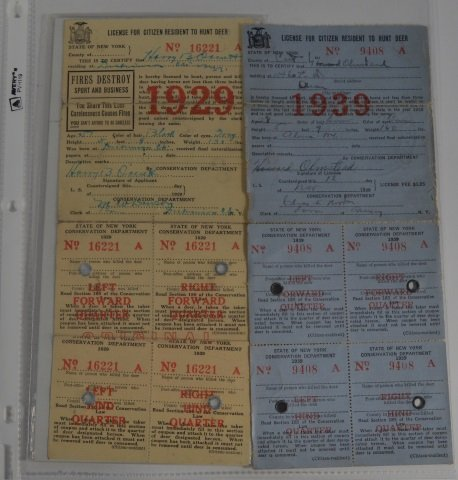 5 new york state deer hunting paper licenses lot 416 for Idaho out of state fishing license