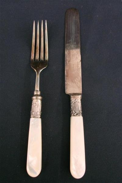 273 antique 24pc mother of pearl handled flatware set lot 273 - Pearl handled flatware ...
