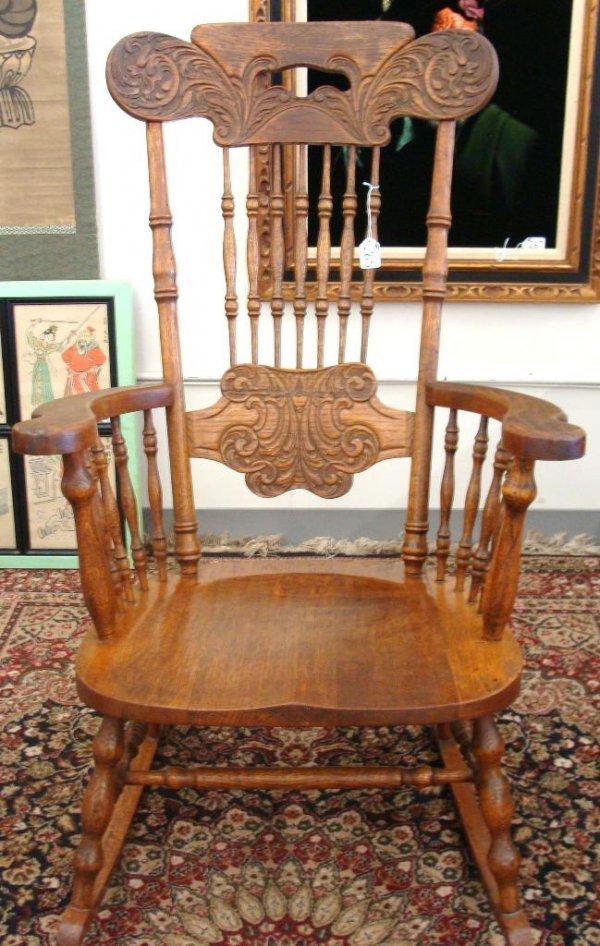 265 Antique Oak Carved Spindle Back Rocking Chair Lot 265