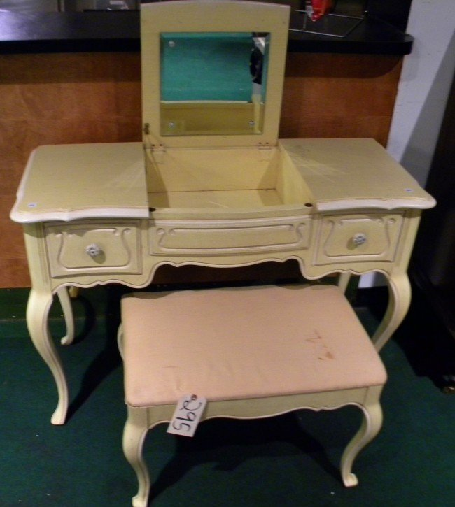French Provincial Painted Vanity Amp Stool Lot 20295