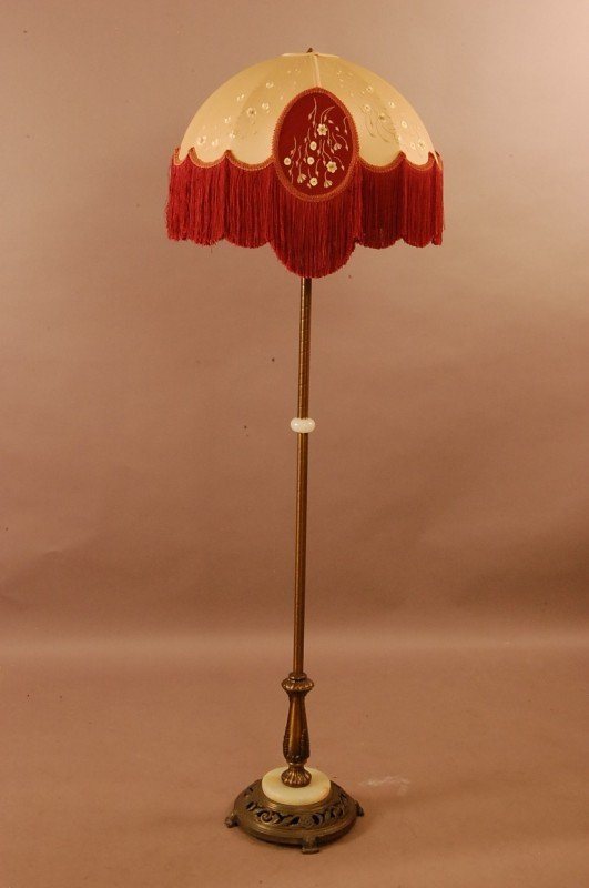 67 192039s style floor lamp with cloth shade 65quot t lot 67 for 1920 s wood floor lamp