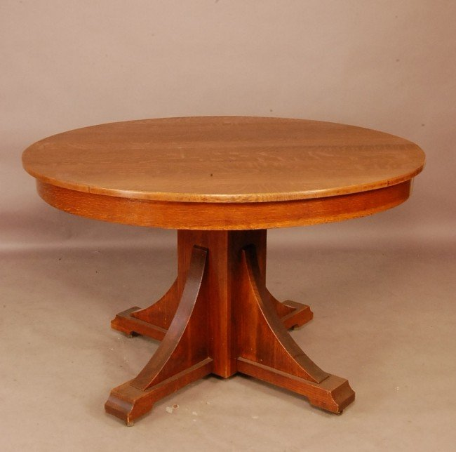 102 Arts Crafts Style Round Oak Dining Table 48 T Lot 102