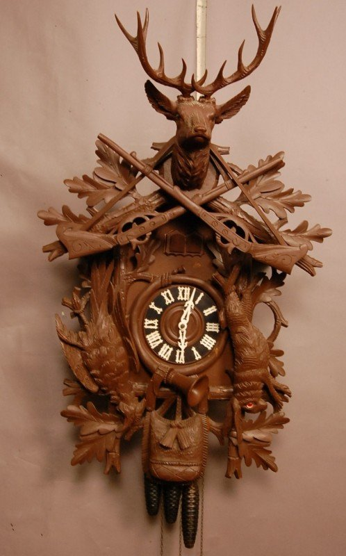 316: German Black Forest Style 3 weight coo-coo clock 3 ...