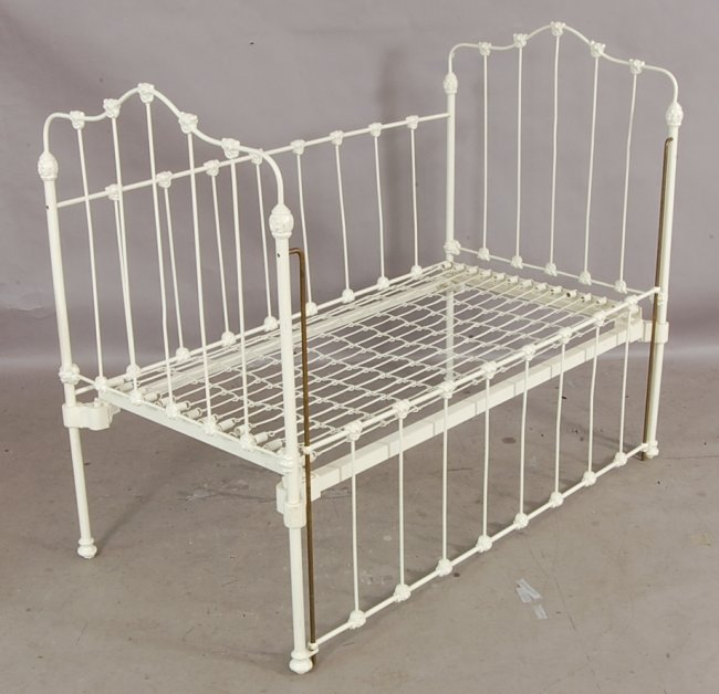 373 Victorian Style Cast Iron Drop Side Baby Crib Lot 373
