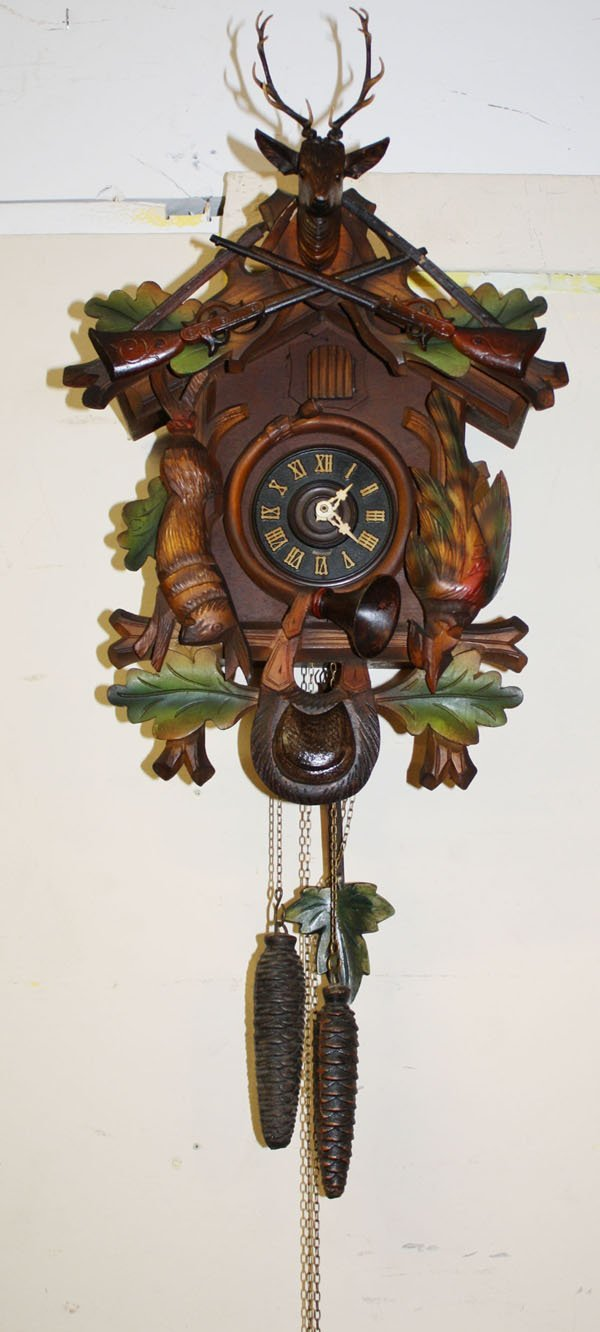 20 german coo coo clock with carved game lot 20 - Coo coo clock pendulum ...