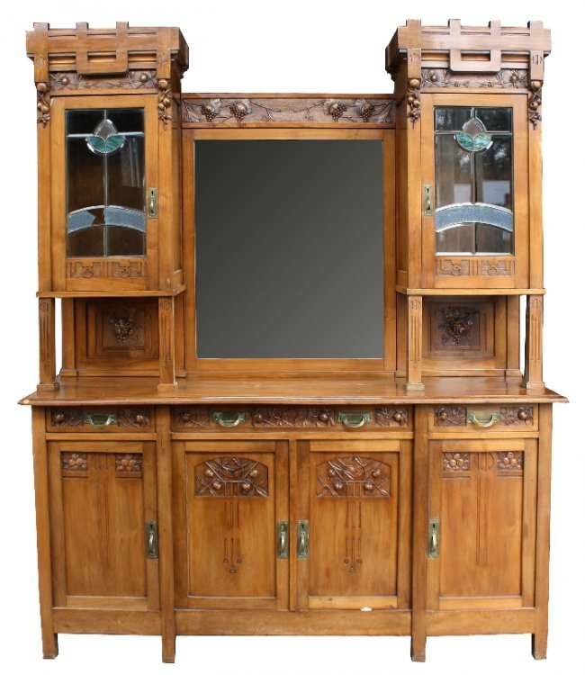 97 french art nouveau buffet in walnut with stained lot 97. Black Bedroom Furniture Sets. Home Design Ideas