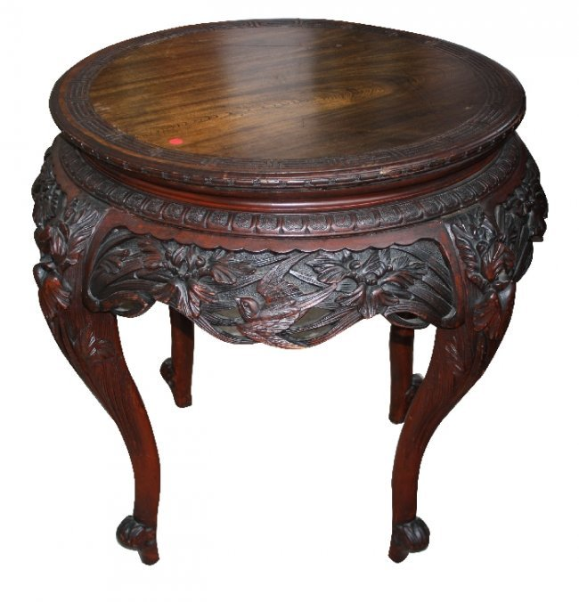 113 Carved Rosewood Chinese Round Foyer Table With Lot 113