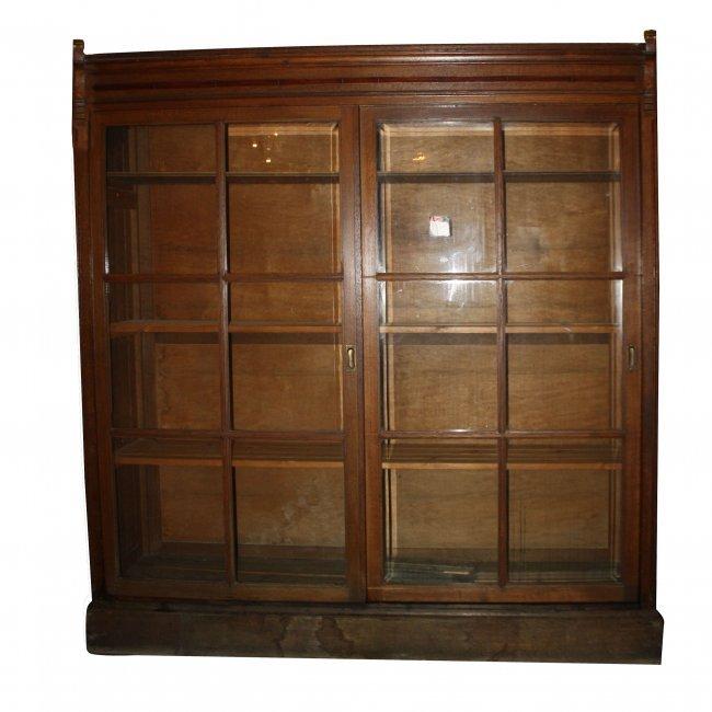 35 Sliding Glass Door Bookcase In Oak Lot 35