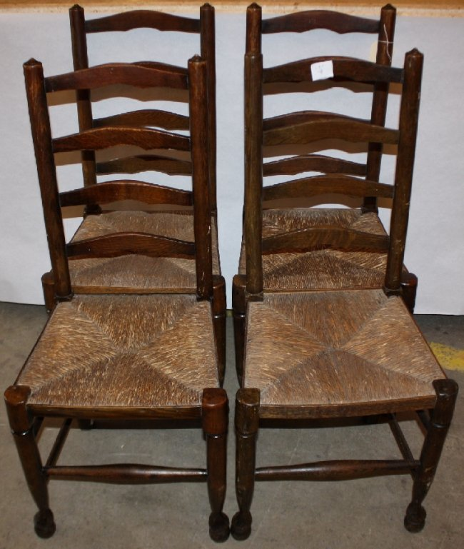 Set Of 4 Ladder Back Rush Seat Chairs Lot 35