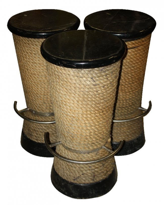 Lot Of 3 Black Nautical Barstools Wrapped With Rope Lot 142