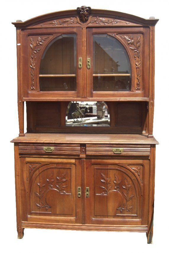 french art nouveau buffet in walnut with foliate. Black Bedroom Furniture Sets. Home Design Ideas