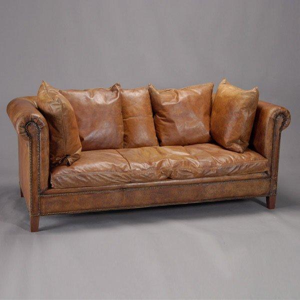 199 ralph brown leather sofa lot 199