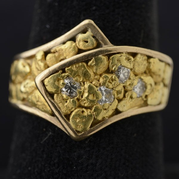 448 gold nugget 10k yellow gold ring