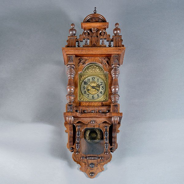 Wall Clock Art Nouveau : German art nouveau oak wall clock lot