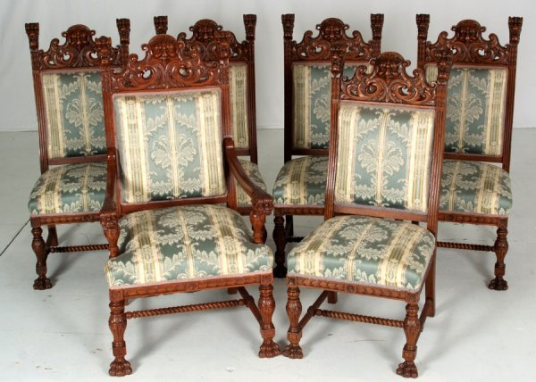 246 6 r j horner lions head oak dining room chairs lot 246 for Dining room head chairs