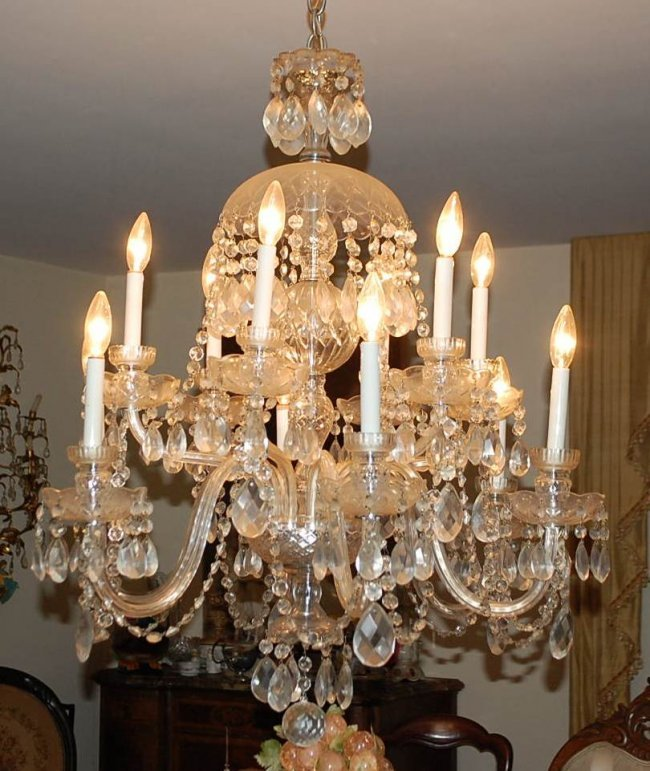 049 crystal 12 arm chandelier from dining room lot 49