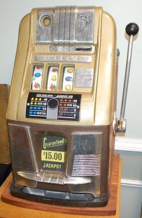 Vintage Five Cent Mills Slot Machine Lot 106