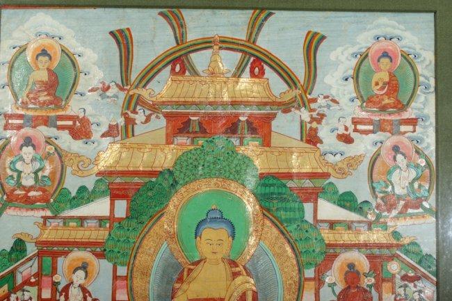 19th C. Thangka - Shakyamuni Buddha, Attendants : Lot 160B