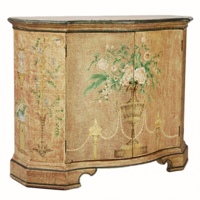 Crackle Kitchen Cabinets: 133: A HAND PAINTED CRACKLE FINISH CONSOLE CABINET : Lot 133