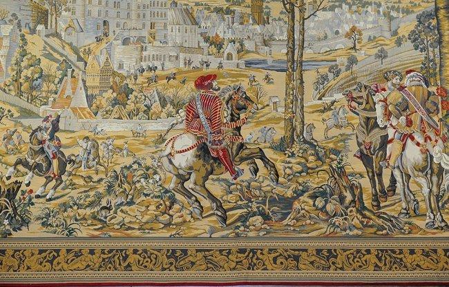 239 Large Belgian Tapestry Medieval Brussels Scene Lot 239