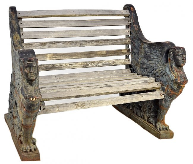 252 Antique Cast Iron Garden Bench In The Egyptian Rev Lot 252