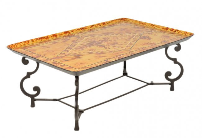 256 Handpainted Coffee Tray Table On Metal Base Lot 256
