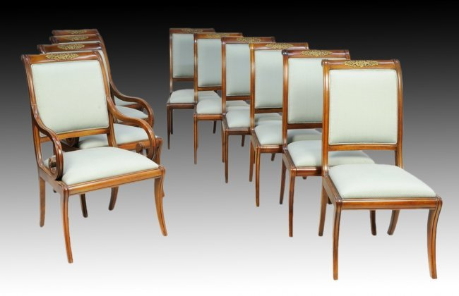 205 set of ten henredon mahogany dining chairs with or